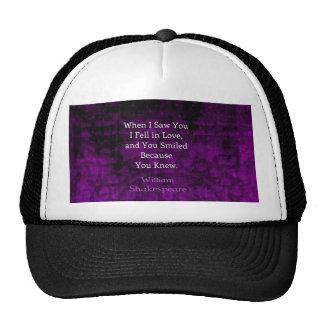 William Shakespeare Romantic Love Saying Mesh Hats