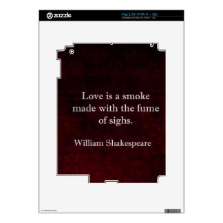 William Shakespeare Romeo and Juliet LOVE Quote Decal For The iPad 2