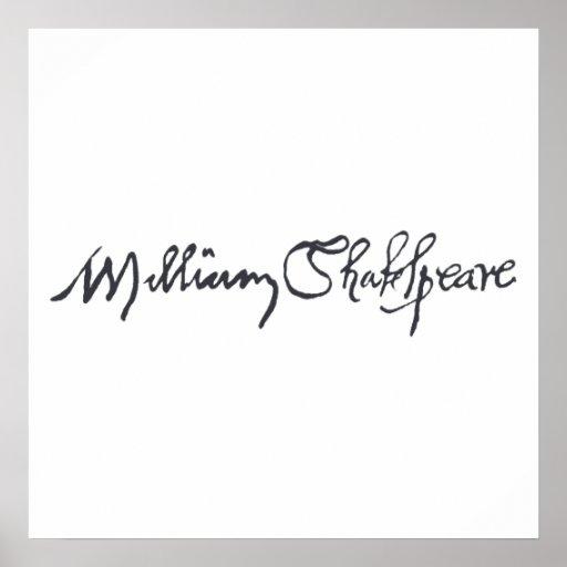 William Shakespeare Signature Poster