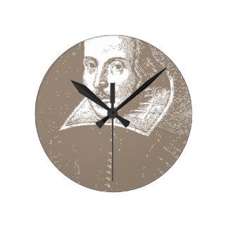 William Shakespeare Warm Gray Wall Clock
