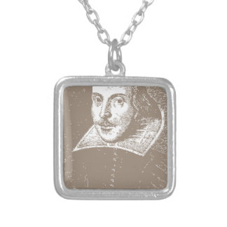 William Shakespeare Warm Gray Personalized Necklace