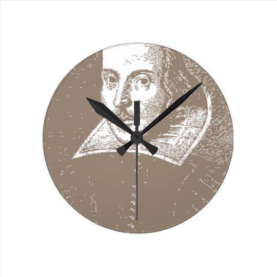 William Shakespeare Warm Gray Round Clock