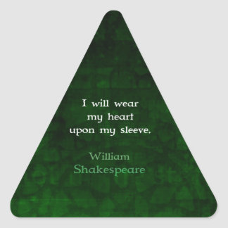 William Shakespeare Whimsical LOVE Quote Triangle Sticker