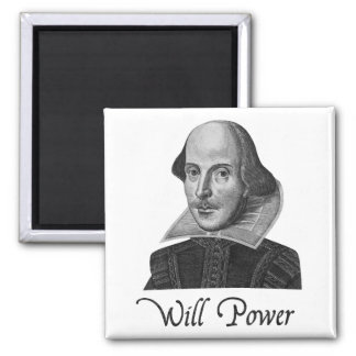 William Shakespeare Will Power 2 Inch Square Magnet