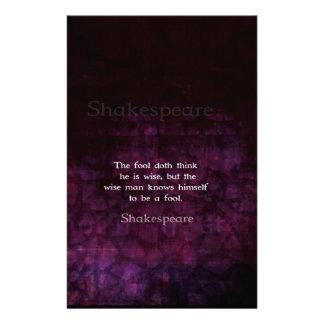 William Shakespeare Wisdom Quotation Saying Personalized Stationery