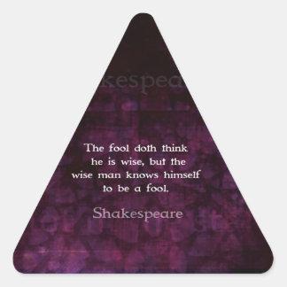William Shakespeare Wisdom Quotation Saying Triangle Sticker