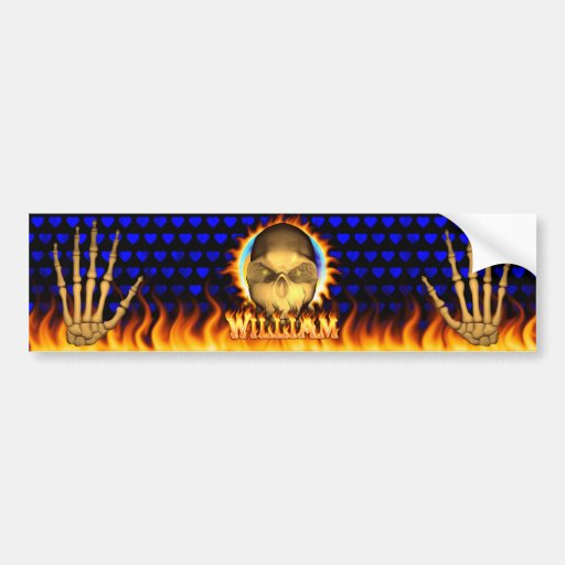 William skull real fire and flames bumper sticker