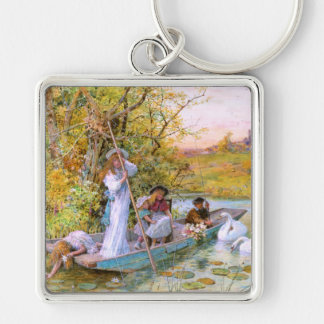 William Stephen Coleman: The Boating Silver-Colored Square Keychain