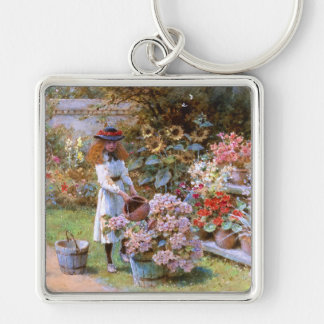William Stephen Coleman: The Flower Garden Silver-Colored Square Keychain