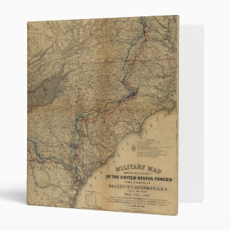 William T. Sherman Marches Military Map 1863 64 65 3 Ring Binder