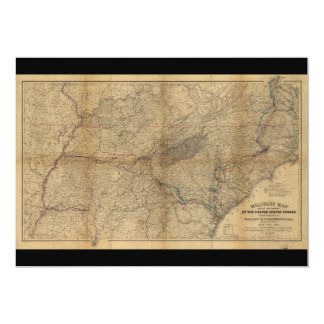 William T. Sherman Marches Military Map 1863 64 65 Card