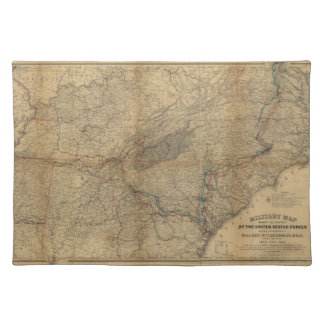 William T. Sherman Marches Military Map 1863 64 65 Cloth Placemat