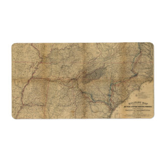 William T. Sherman Marches Military Map 1863 64 65 Label