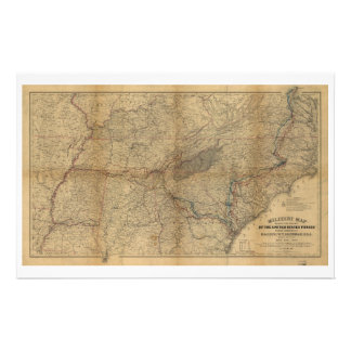 William T. Sherman Marches Military Map 1863 64 65 Stationery