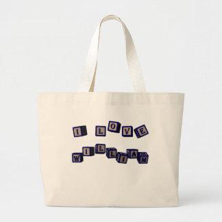 william toy blocks, blue bags
