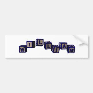 william toy blocks, blue bumper sticker