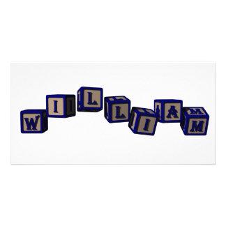 william toy blocks blue photo greeting card
