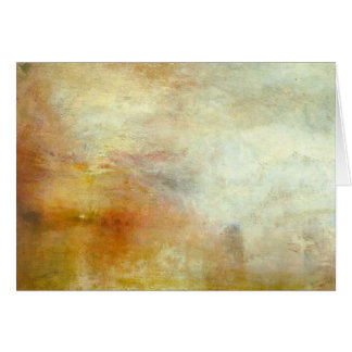 william turner - sun setting over a lake greeting card