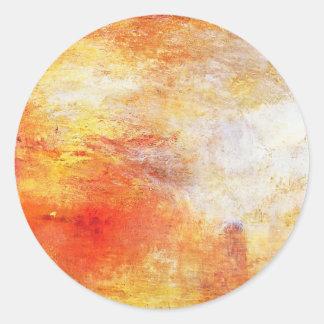 William Turner Sun Setting Over A Lake Romanticism Classic Round Sticker