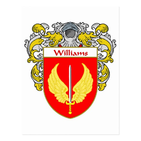 Williams Coat of Arms (Mantled) Postcard