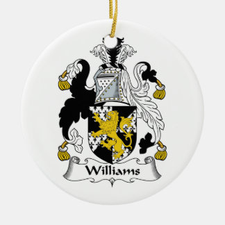 Williams Family Crest Double-Sided Ceramic Round Christmas Ornament