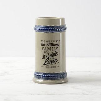 Williams Family Member Love Vintage Typography Beer Stein