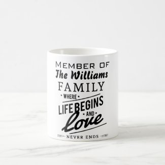 Williams Family Member Love Vintage Typography Coffee Mug
