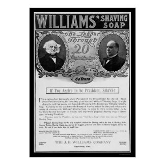 Williams Shaving Soap Ad 1901 Poster