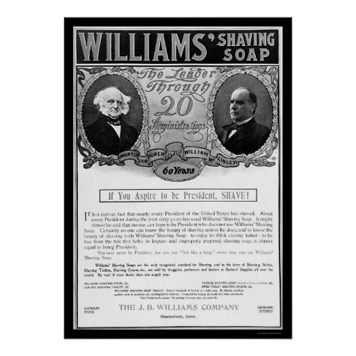 Williams Shaving Soap Ad 1901 Posters