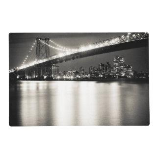 Williamsburg bridge in New York City at night Placemat