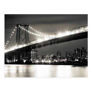 Williamsburg bridge in New York City at night Post Card