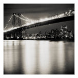 Williamsburg bridge in New York City at night Poster