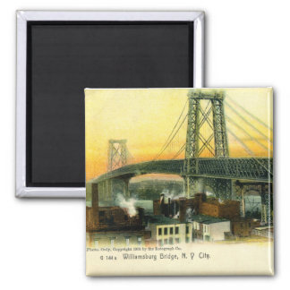 Williamsburg Bridge, New York City, 1905 Vintage 2 Inch Square Magnet