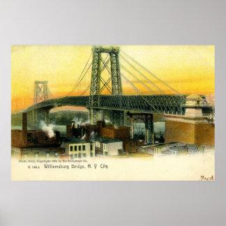 Williamsburg Bridge New York City 1905 Vintage Poster