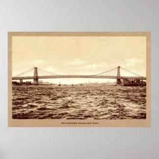 Williamsburg Bridge New York City 1907 vintage Print