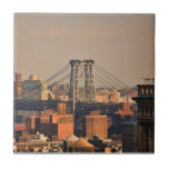 Williamsburg Bridge NYC on a cloudy day Tile