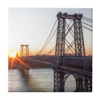 Williamsburg Bridge Sunset Brooklyn NYC Tile