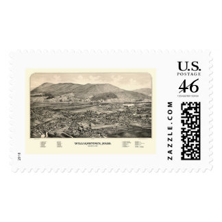 Williamstown MA Panoramic Map - 1889 Postage Stamp