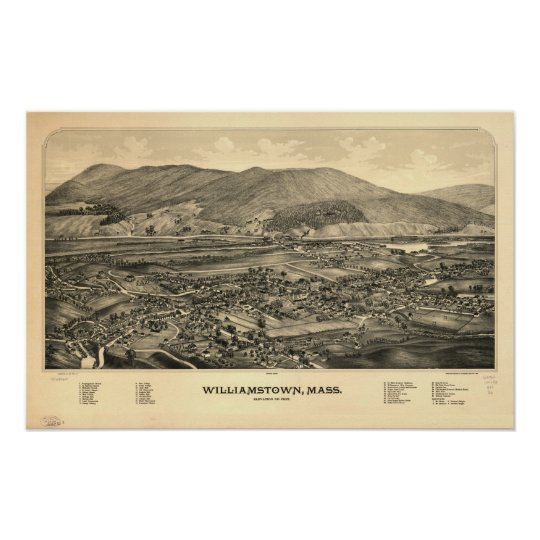 Williamstown Mass. 1889 Antique Panoramic Map Poster