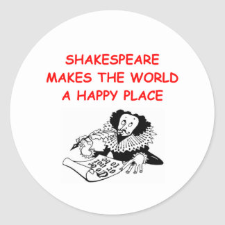 willian shakespeare classic round sticker