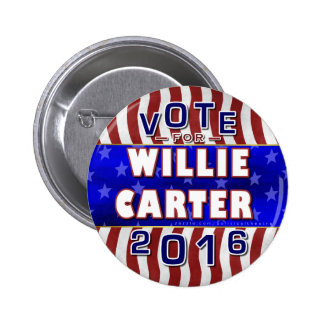 Willie Carter President 2016 Election Democrat Pinback Button