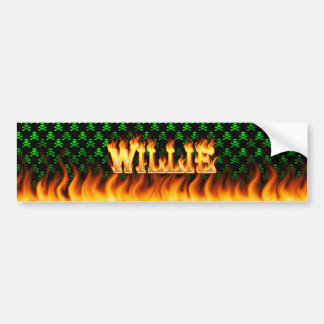 Willie real fire and flames bumper sticker design.