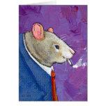 Willie the Rat - fun businessman smoking painting Greeting Cards