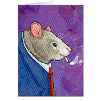 Willie the Rat - fun businessman smoking painting Card