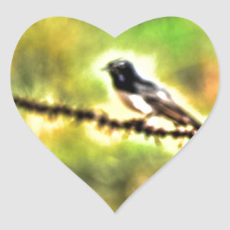 WILLIE WAGTAIL AUSTRALIA WITH ART EFFECTS HEART STICKER