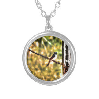 WILLIE WAGTAIL ON A FENCE AUSTRALIA ART EFFECTS ROUND PENDANT NECKLACE