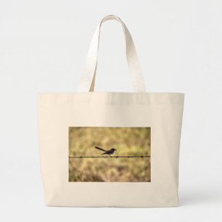 WILLIE WAGTAIL ON FENCE QUEENSLAND ART EFFECTS JUMBO TOTE BAG