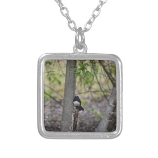 WILLIE WAGTAIL RURAL QUEENSLAND AUSTRALIA SQUARE PENDANT NECKLACE