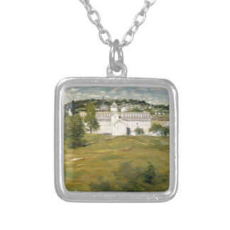 Willimantic Thread Factory by Julian Alden Weir Square Pendant Necklace