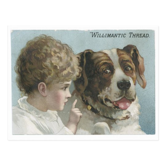 Willimantic Thread Little Girl with Dog Postcard